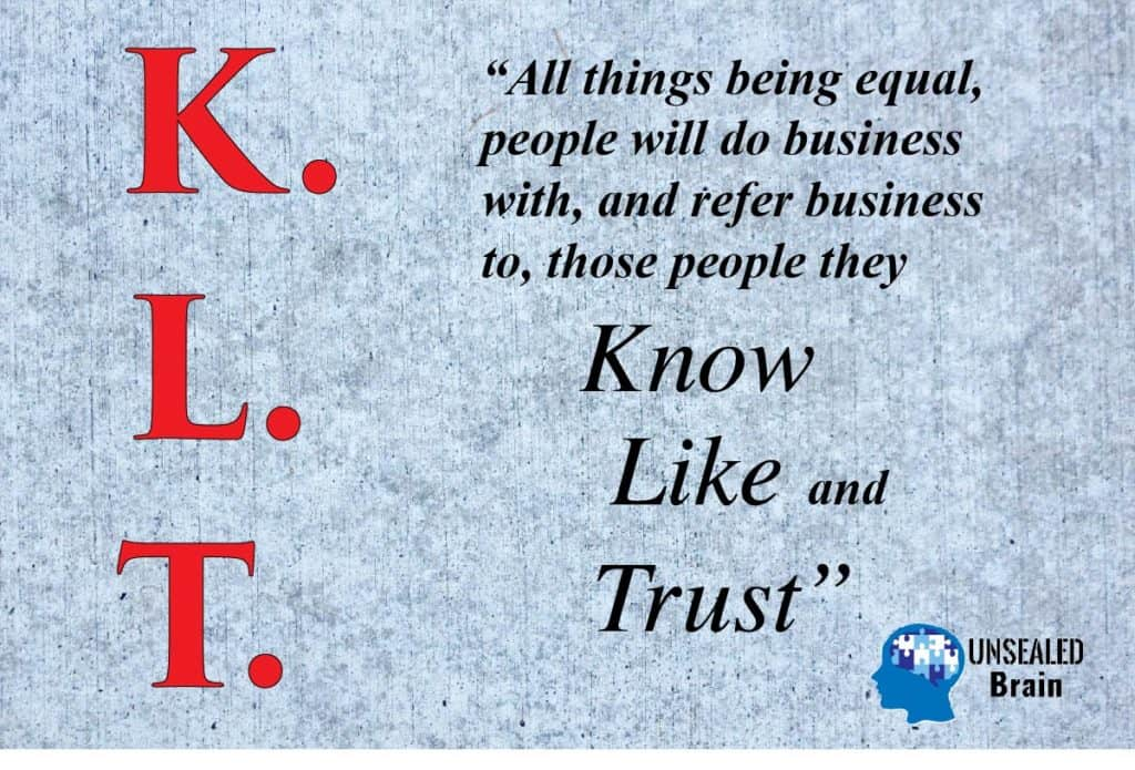 Poster about KLT - Know, Like, and Trust